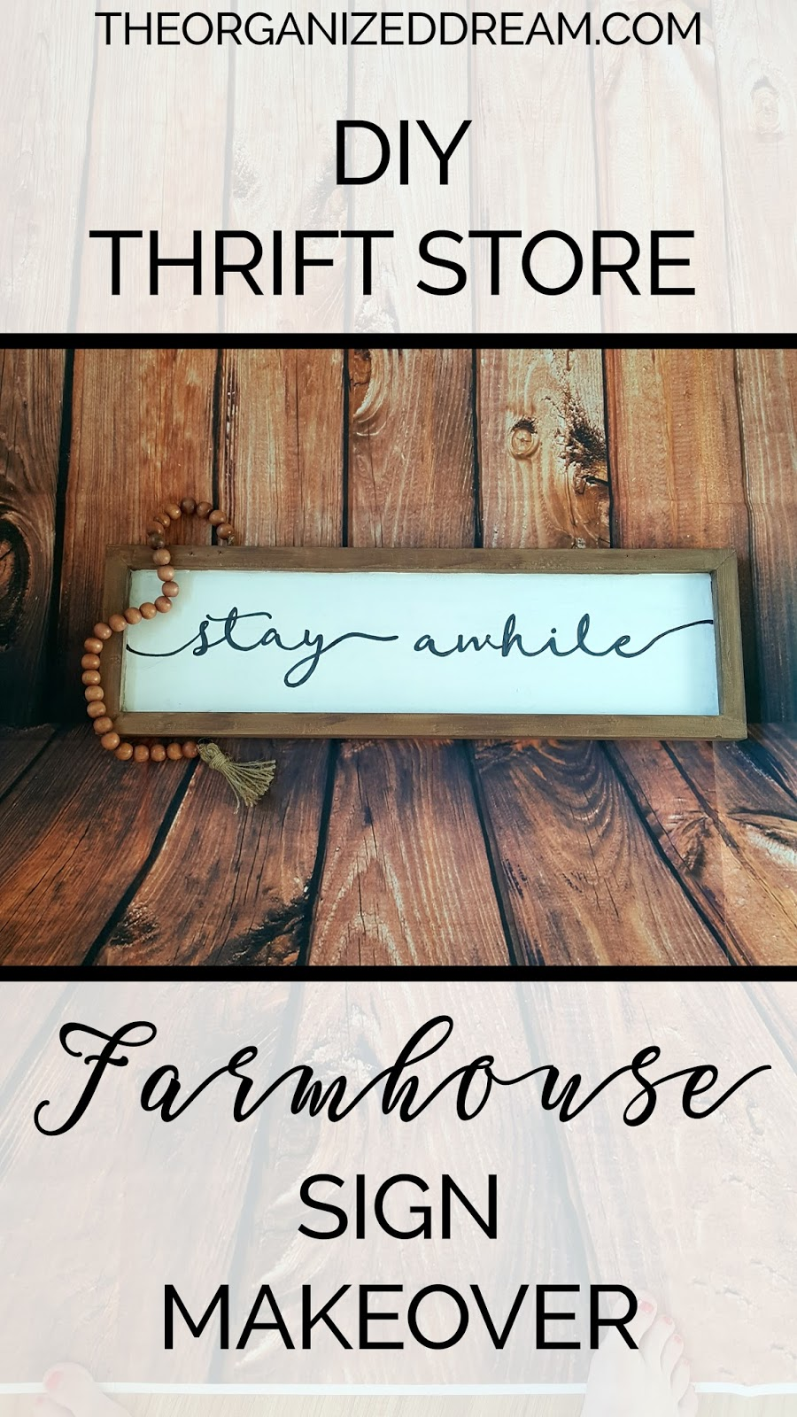 Diy Thrift Store Farmhouse Sign Makeover The Organized Dream