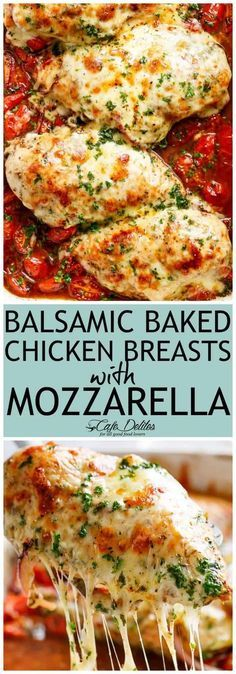 BALSAMIC BAKED CHICKEN BREAST WITH BALSAMIC TOMATO SAUCE AND MOZZARELLA CHEESE