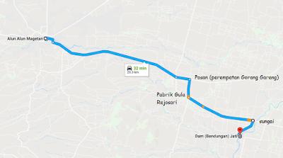 Jalur menuju Dam Jati dari arah Magetan
