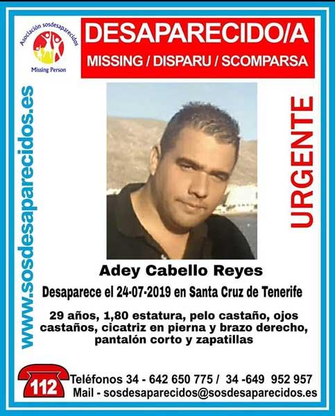 Adey Cabello Reyes, el hombre de 29 años que está como desaparecido en Santa Cruz de Tenerife