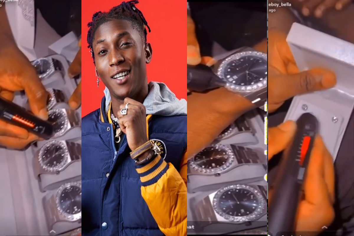 [Video]: Bella Shmurda shame haters as he shows off new diamond wristwatches & earrings