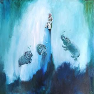 Hippo, hippocampus, flodhest, gravity, vægtløs, tyngdekraft, art, maleri til, salg, glade farver, galleri, Gallery, naturalistisk, abstraktion,
