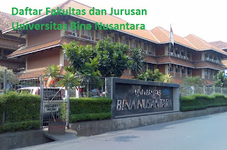 Daftar fakultas, jurusan dan program studi untuk diploma, doktor ,magister, sarjana  BINUS Universitas Bina Nusantara Lengkap Terbaru