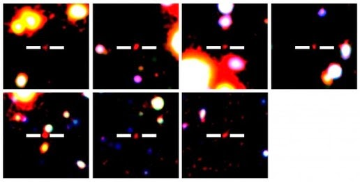 Seven newly detected galaxies in the early universe, they appeared 13.1 billion years ago.