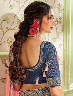 Light Pink Georgette Silk Designer Saree with Contrast Embroidered Floral Border back design