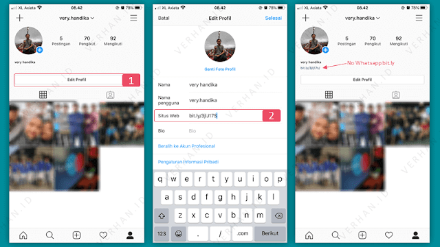 link whatsapp di instagram