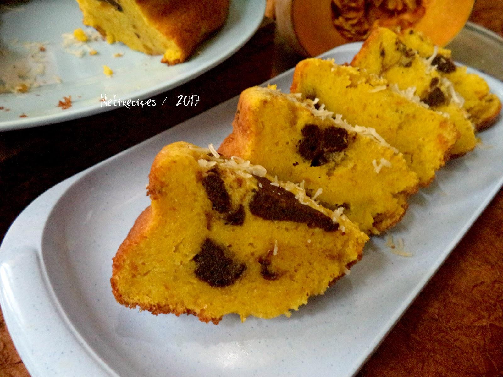 Resep Cake Kukus Labu Kuning Lapis Coklat: Resep Cake Marmer Labu Kuning Yang Enak