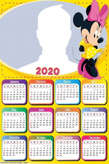 Minnie in Yellow: Free Printable 2020 Calendar.