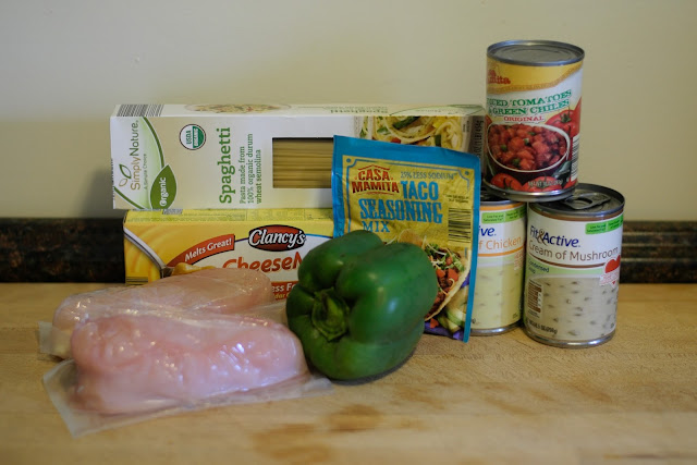 The ingredients needed to make the Crockpot Chicken Spaghetti.