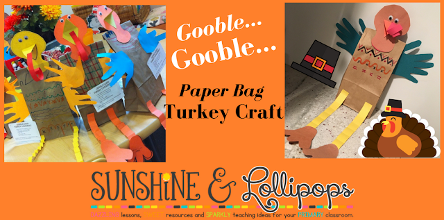 Here is a cute turkey craft that you can make at school before Wednesday or at home with your own kiddos...Enjoy!