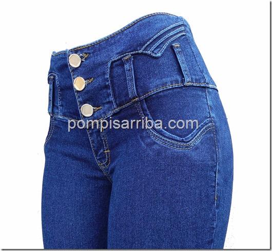 Jeans tipo Costillero tres Botones en Color Mezclilla en Mayoreo