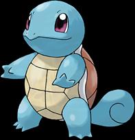 Imagen de Squirtle, Pokemon tortuga con cola de ardilla, color azul y caparazón marrón por arriba y amarillento por la barriga.