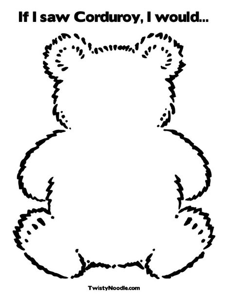 early play templates: Simple Teddy Bears to colour, stitch