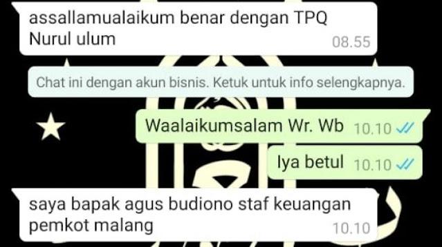 Ngaku Staf Keuangan Pemkot Malang, Diskominfo: Penipuan Berkedok Donasi