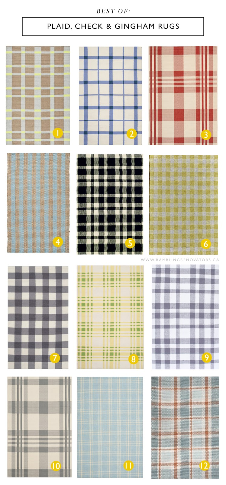 Plaid, check, and gingham rugs | Ramblingrenovators.ca | farmhouse lakehouse cottage rugs