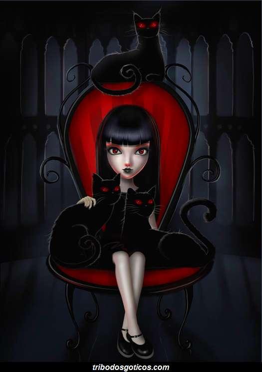 gotica com gatos preto desenho