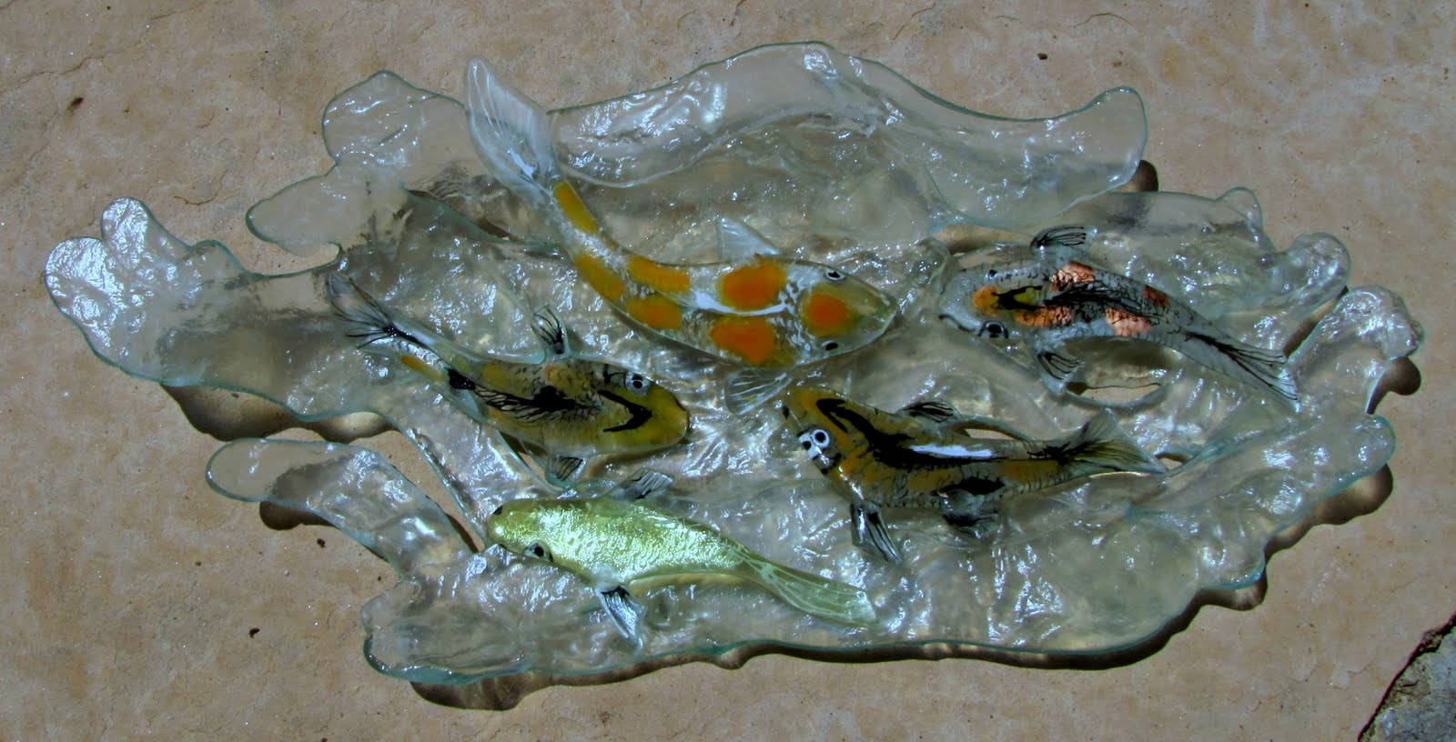 Lynfeudner fused glass koi pond for Koi pond glass