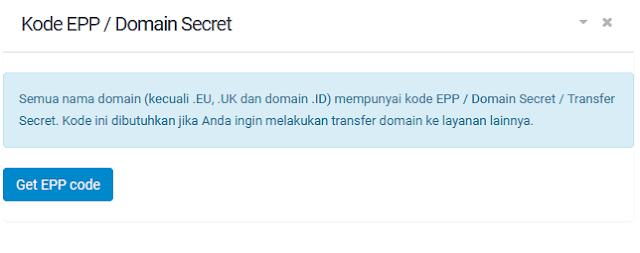 mendapatkan kode EPP untuk proses transfer alamat website