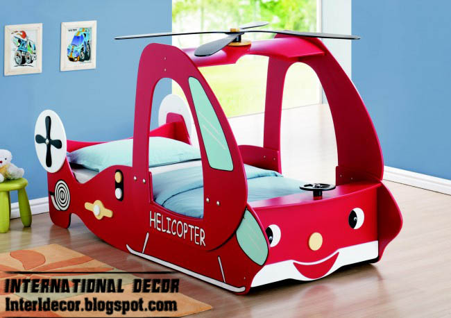 Helicopter Bed Design For Kids, Contemporary Kids Bed Design Red