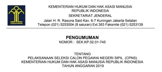 Download Surat Pengumuman Tentang Pelaksanaan Seleksi CPNS 2019 di Lingkungan Kemenkumham