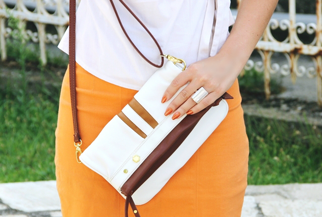 White summer looks.Beli letnji outfit.Claire's orange skirt.White and brown purse.Silver and pearl ring.