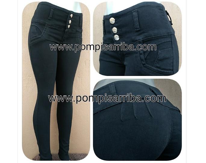 Modelo # 06 Pantalón Mezclilla Stretch Color Negro,
