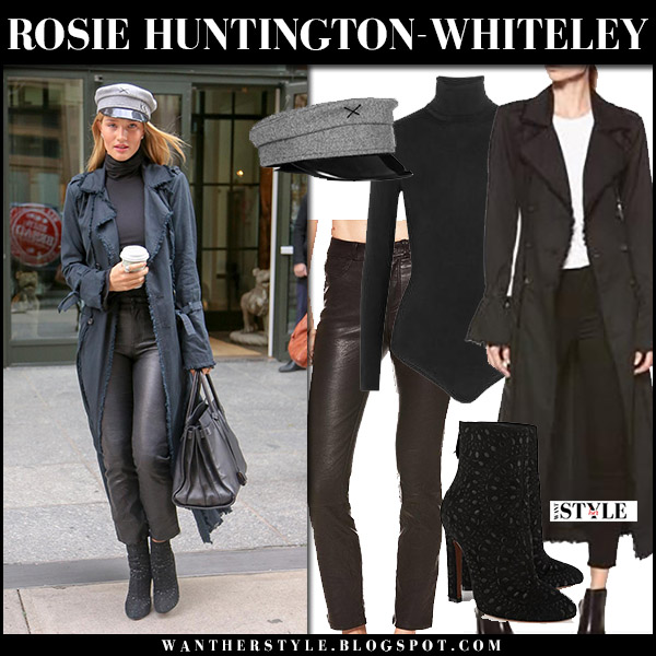 Rosie Huntington-Whiteley in black trench coat paige norma, black leather pants paige jacqueline and black ankle boots alaia winter celebrity style december 6