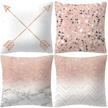 60% OFF Pack of 4 Throw Pillow Covers Cases - Rose Gold Pink Pillowcase Square Decorative Cushion Covers for Sofa Couch Bed Home Decoration, 18 x 18 inches 45 x 45 cm