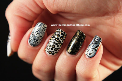 black white water marble nails barry m gold mine