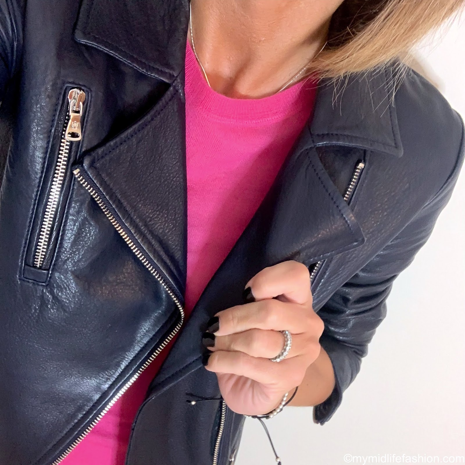 my midlife fashion, Massimo Dutti leather biker jacket, Joseph fine knit cashmere jumper, marks and Spencer slip midi skirt, golden goose superstar low top leather trainer