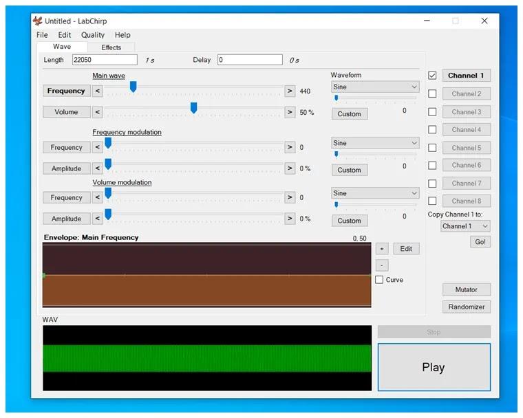 LabChirp : Δωρεάν πρόγραμμα  για τη δημιουργία ηχητικών εφέ