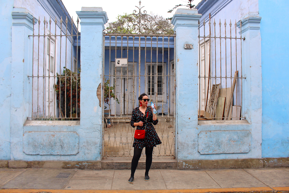 Blue building in Barranco, Miraflores in Lima, Peru - travel blog