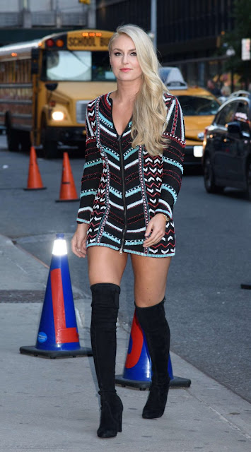 Lindsey Vonn – Arrives to Late Show with Stephen Colbert Show in New York