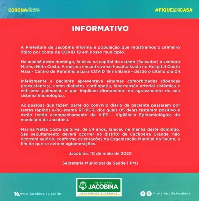 JACOBINA REGISTRA PRIMEIRA MORTE POR COVID-19