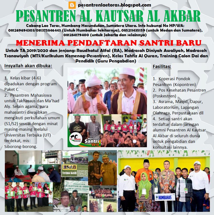Pesantren Al Kautsar Al Akbar Medan Beserta Cabang Kembali Membuka Pendaftaran Santri TA 2019/2020