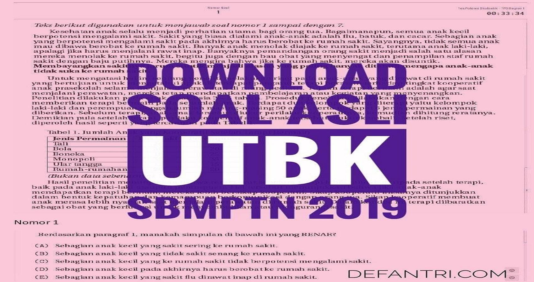 Download Soal Asli UTBK SBMPTN Tahun 2019 Kelompok TPS dan TKA SAINTEK