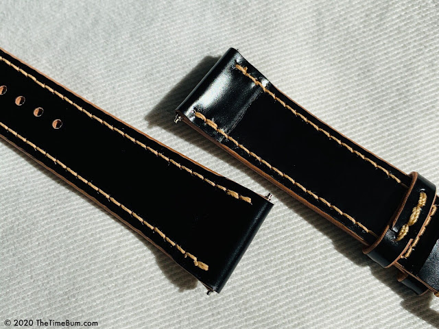 inthebagcrafts Shell Cordovan leather watch strap Underside