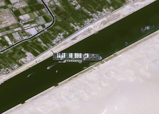 The latest and clearest satellite image by Air bus for EverGreen's Ever Given in Suez canal