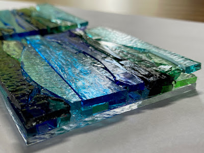 Fused Glass Abstract Landscape Wave Ocean Water Ornament Sharon Warren Glass FlutterbyButterfly Tack Fuse Painting