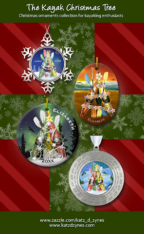 Christmas ornaments collection featuring THE Kayak Christmas Tree from katzdzynes | tap to shop the collection on Zazzle
