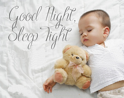 Good Night Sleep Tight Baby Image with Teddy Bear