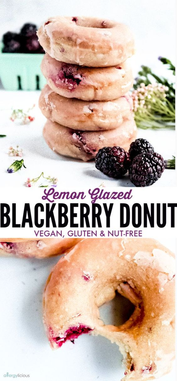 These baked lemon glazed blackberry donuts are light and cakey and hard to resist. It's the perfect breakfast! |Recipe www.allergylicious.com| #vegan #bakeddonut #doughnuts #glutenfreedonut #dairyfree #nutfree #berrydonut
