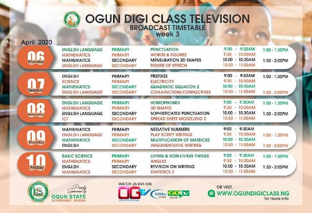 Ogun State 'OgunDigiClass' Timetable for Pri. Sec. Schools | Online & TV