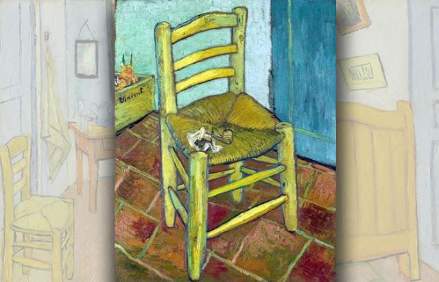 """Pintura """" A Cadeira de Van Gogh com um cachimbo"""", 1888"""