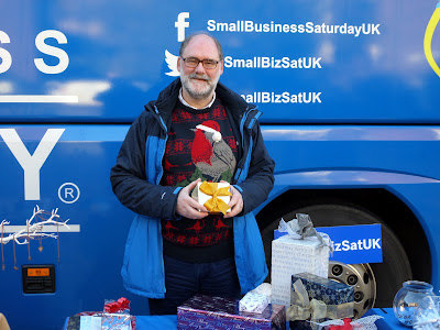 Derrick of Present Perfect gift wrapping with Small Business Saturday in Edinburgh