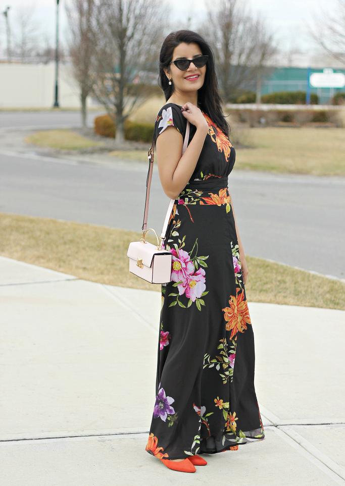 Floral Maxi Dress, eShakti floral dress, eShakti maxi dress, affordable floral maxi dress, affordable dresses, Dresses that make you look slim