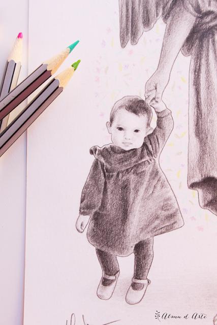 Retrato dibujado de una niña