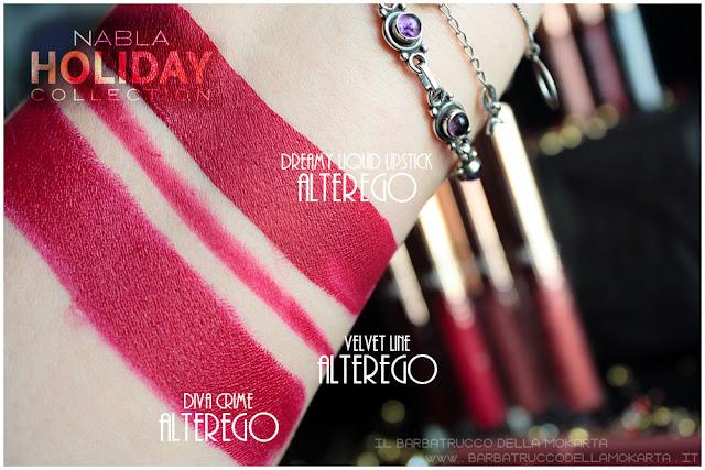alterego comparazioni swatches divecrime  liquid lipstick  velvetline nabla rossetto liquido