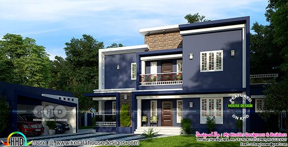 4 BHK flat roof modern home 2375 sq-ft