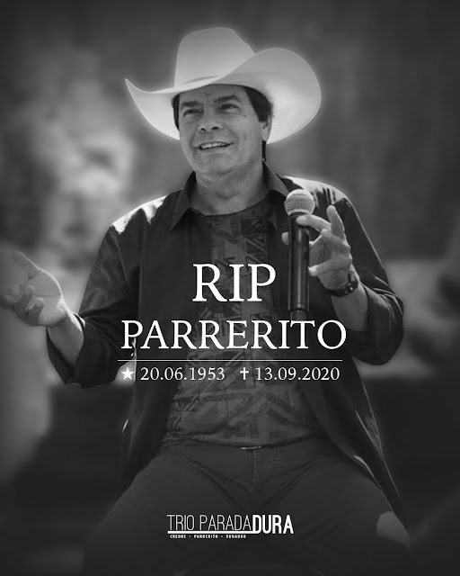 Luto na música sertaneja Parrerito, do Trio Parada Dura, morre em BH com Covid-19